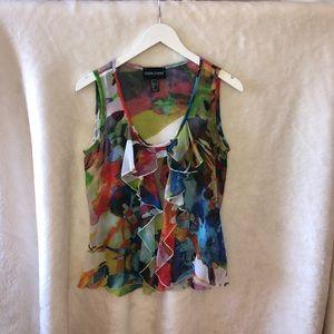 Frank Lyman sleeveless flowery see-through blouse